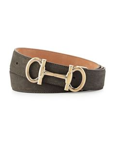 Parigi Double-Gancini Suede Belt, Gray by Salvatore Ferragamo at Neiman Marcus.
