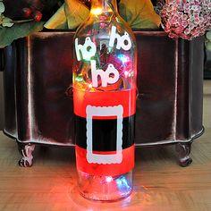 Wine Bottle Lights - Christmas in July - Santa Claus - Hostess Gift. $18.00, via Etsy.