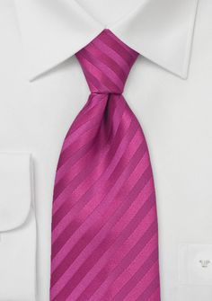 Striped Kids Size Tie in Deep Magenta