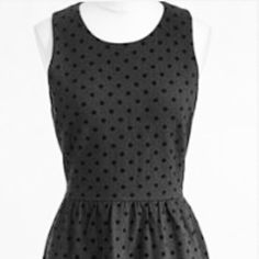 J CREW DRESS J CREW (factory) Black Ponte Dress with Tiny velvet polka dots with slightly raised texture fitted at waist and falls above the knee   This sleeveless dress flaunts and flatters from cubicle to cocktails  gently worn and in very good condition ❌trades❌PayPal J. Crew Dresses