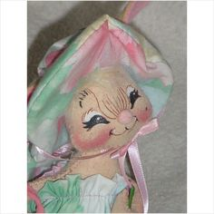 1994 Annalee Girl Bunny Doll Anna Lee Made In NH USA 7 inches tall
