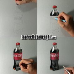 Marcello Barenghi: Coca-Cola plastic bottle - drawing phases