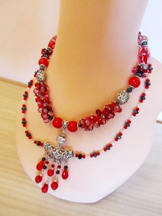 Lovely Red Czech Glass Necklace, Crackle Glass Necklaces, Bright Red Natural Coral, OOAK Necklace, Fashion, Unique, Styllish, Best Gift Her