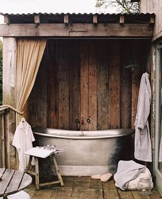 Baths so big you can swim in them 👌🏻 captured by @laurenluxenberg #SohoFarmhouse Outdoor Bathtub, Outdoor Bathrooms, Rustic Bathrooms, Outdoor Rooms, Outdoor Living, Chic Bathrooms, Bathroom Vanities, Bathroom Ideas, Soho Farmhouse