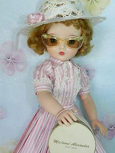 Vintage Madame Alexander Cissy Doll in Tagged 1956 Pink Stripe Skirt Set
