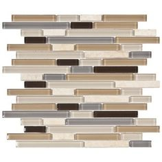 @Overstock - These smooth glass and natural stone mosaic tiles from SomerTile offer a sleek brown, tan, black and grey color scheme. The wall tiles come in a pack of five.http://www.overstock.com/Home-Garden/SomerTile-11.75x11.75-in-Reflections-Piano-River-Glass-and-Stone-Mosaic-Tile-Pack-of-5/6294149/product.html?CID=214117 $67.35