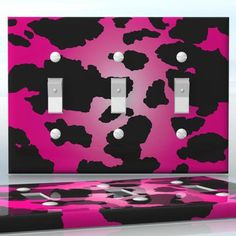 DIY Do It Yourself Home Decor - Easy to apply wall plate wraps | Magenta Cheetah Print   Pink animal print  wallplate skin sticker for 3 Gang Toggle LightSwitch | On SALE now only $5.95