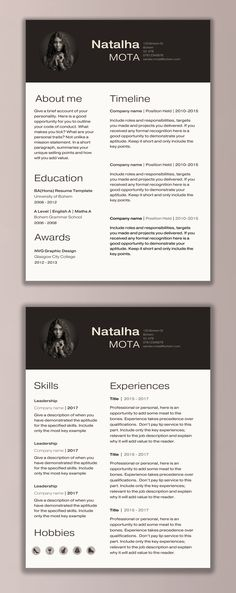 Two Page Resume Template - Resume Builder - CV Template - Free - microsoft word template resume