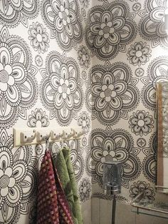 Wallpaper Lumikide 61784 by Pihlgren & Ritola Bathroom Wallpaper, Love Wallpaper, Wallpaper Ideas, Floor Ceiling, Flat Ideas, Laundry In Bathroom, Living Room Inspiration, Bedroom Wall, My Dream Home