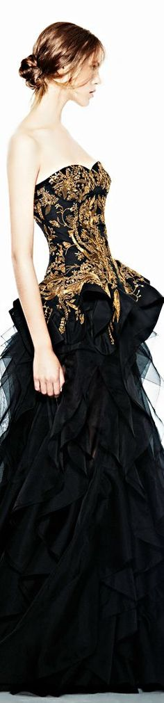 Alexander McQueen black and gold peplum ruffling gown