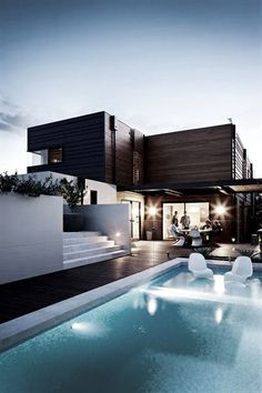 modern house with stylish pool...