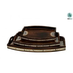Set of 3 Trays. With Madhubani miniature painting on sides. Brown Wooden textured. Can be wiped with wet cloth. Ideal of serving beverages/drinks.