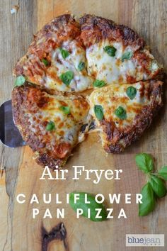 Cauliflower Crust Pan Pizza is a great low carb way to satisfy your pizza cravings. Making it in the air fryer is quick and easy - just take care to flip it over to cook the bottom crust. Then, the rest is easy peasy! #cauliflowercrustpizza #pizza #lowcarb Air Fryer Oven Recipes, Air Frier Recipes, Air Fryer Dinner Recipes, Healthy Low Carb Recipes, Low Carb Dinner Recipes, Vegetarian Recipes, Cooking Recipes, Zoodle Recipes, Thm Recipes