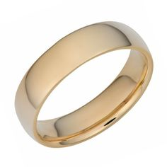 14k Yellow Gold 6mm Comfort Fit Hollow Wedding Band Size 8 >>> Visit the image link more details.