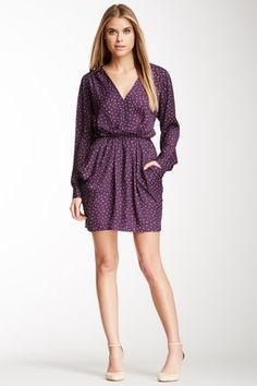 BCBG Woven V-Neck Eggplant Dress