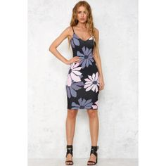Stitch Fix Stylist: I love the length of the dress, the fit (tight throughout) and the floral pattern with black background. Would look great with a layers  Sleight Of Hand Midi Dress Black