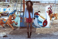 On Sixth Cloud Floral Playsuit, Thrift Store Denim Jacket, Dr. Martens Vintage 1490 Boots