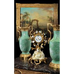 A BLANC DE CHINE PORCELAIN, QING DYNASTY, WITH LOUIS XV GILT-BRONZE MOUNTED MANTEL CLOCK