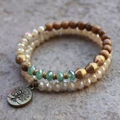 African Trade beads wood and crystal mala bracelet set door lovepray, $49.00