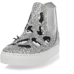 Chiara Ferragni Glitter Shoes with eyes ($150) ❤ liked on Polyvore featuring shoes, silver, chiara ferragni, leather shoes, genuine leather shoes, glitter shoes and leather footwear