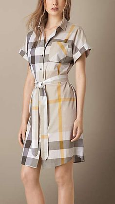 Explore our selection of women's dresses and jumpsuits at Burberry. Shop tailored dresses, lace-trim silk slips and jersey gowns with handworked embellishment. Shirtdress Outfit, Jumpsuit Dress, Stylish Dresses For Girls, Casual Dresses, Fashion Dresses, Cotton Shirt Dress, Cotton Dresses, Dress Shirt, Plaid Fashion