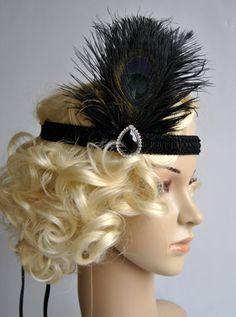 Art Deco Black Peacock Headband The Great by BlueSkyHorizons, $28.00