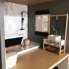 Bathroom shot all in #dollhouseminiatures #modernminiatures #dollhousereno #dollhousebathroom