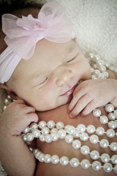 Newborn baby girl photo with pearls! So adorable!