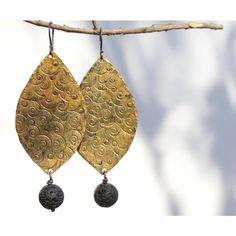 Copper earrings, Boho earrings, Rustic copper earrings, Gold earrings,... ($28) ❤ liked on Polyvore featuring jewelry and earrings