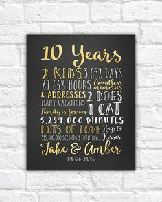Wedding Anniversary Gifts For Him Paper Canvas 10 Year 10th