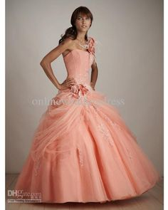 2011 Hot Sale Peach Quinceanera Dresses Prom Dresses Party Dresses Ball Gowns Custom Measurement