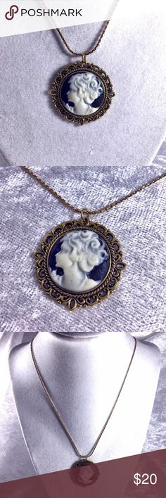 "Vintage Round Young Girl Cameo Necklace Round cameo black and white girl has lots of ringlets in hair. 18"" chain. Cameo is 1.25"" diam. Mixed metal gold alloys. Victorian retro art nouveau. . 🌟 Bundle to Save the most. 25% OFF Bundles of 2 or More items. I accept reasonable offers & bundle offers. No holds, trades, or lowball offers. Boutique Jewelry Necklaces"