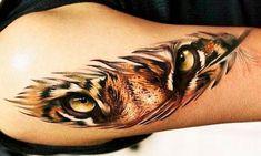 Incredibly beautiful tattoos with big cats - Incredibly beautiful . - Incredibly beautiful tattoos with big cats – Incredibly beautiful tattoos with big cats – - Tiger Eyes Tattoo, Cat Eye Tattoos, Big Cat Tattoo, Feather Tattoos, Leg Tattoos, Body Art Tattoos, Girl Tattoos, Sleeve Tattoos, Tattoos For Guys