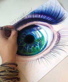 Crayon and colored pencil eye art. Amazing Drawings, Beautiful Drawings, Cool Drawings, Amazing Art, Crayon Drawings, Beautiful Eyes, Drawing Sketches, Sketching, Drawn Art