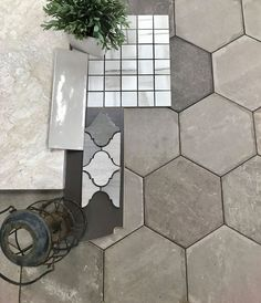 The possibilities are endless when it comes to pairing something with these 'bricklane' hexagon floors!