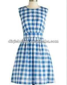 azul y blanco a cuadros del tanque vestido de mujer 2013-XL Falda-Identificación del producto:670481271-spanish.alibaba.com