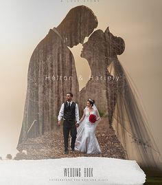 Beautiful double exposure wedding photo book cover.