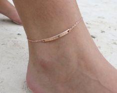 Personalizar barra tobillera oro rosa tobillera damas joyas regalo pie pulsera amistad regalo Idea mano personalizados sello pulsera para el tobillo