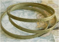 Raw Brass One I Love Sentiments Bangle by DecadentBrassGlass