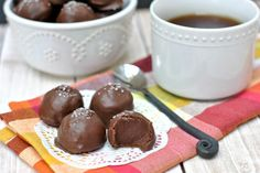 Salted Caramel Truffles with a hint of espresso for a truly unique treat. Mocha heaven, if you asked us!