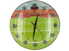"""Soccer Wall Clock, 3 - Soccer and sports fans will cheer for this unique Soccer Wall Clock. Clever design features little soccer balls set at each hour and a background of a soccer field from the perspective of kicking a goal. Measures approximately 13"""" x 13"""" x 1"""". Quartz movement. Requires 1 AA battery (not included) . Comes packaged in an individual window box. Package measures approximately 13.25"""" x 13"""" x 1.75"""".-Colors: black,white,yellow,green,red. Material: glass,metal,plastic. Weight…"""
