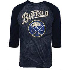 Majestic Threads Buffalo Sabres 3/4-Sleeve Tri-Blend Raglan T-Shirt