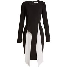 Givenchy Long-sleeved stretch-crepe dress (44.075 ARS) ❤ liked on Polyvore featuring dresses, black white, black and white dress, givenchy, white and black dress, long sleeve day dresses and longsleeve dress