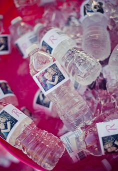 Personalized waterbottles of the bride and groom. Great for the reception! Photographed by Julie Dreelins' Beach Productions http://www.outerbanksweddingassoc.org/membersearch/memberpage.html?MID=1872=Videographers=21