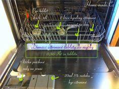 Domácí citronové tablety do myčky |  1 lžičku práškové sody 20ml 5% roztok kyseliny citronové  50g tablet kuchyňské soli  2 lžíce kyseliny citronové