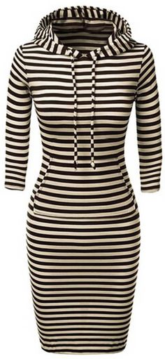 Date-out style meets high quality-New Look Now! This stripe slim dress is your must-have piece. Enjoy this fall look at Cupshe.com
