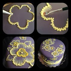 brush embroidery cake with yellow flowers Brush embroidery: a cake decorating technique that is so elegant, and so easy! You'll simply an already-covered cake, a paintbrush, and some thinned buttercream icing in an icing bag (the sma… Pretty Cakes, Cute Cakes, Beautiful Cakes, Amazing Cakes, Beautiful Flowers, Decoration Patisserie, Dessert Decoration, Cookie Cake Decorations, Flower Decorations