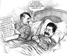 Stalin and Hitler - Allies, Then Enemies History Cartoon, History Memes, Vintage Oddities, Classroom Images, Satirical Illustrations, Famous Cartoons, Military Pictures, History Education, Political Cartoons