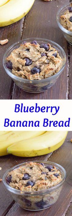 Single Serve Blueberry Banana Bread - easy to make, high protein, no artificial sugar! Gluten free banana bread!