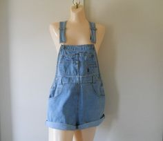 Women Overalls Womens Shortalls Denim Shortalls by TheVilleVintage, $47.79